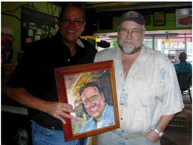 John Foyston presents portrait to publican Randy Plew of Plew's Brews