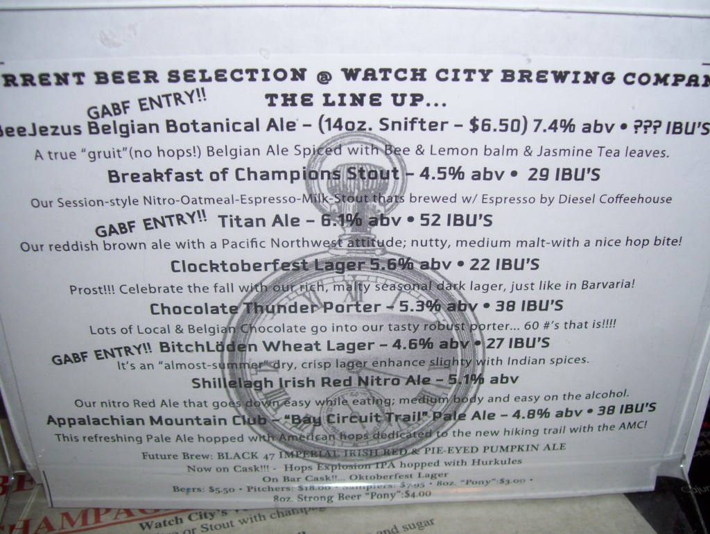 beer menu at Watch City Brewing in Waltham, MA