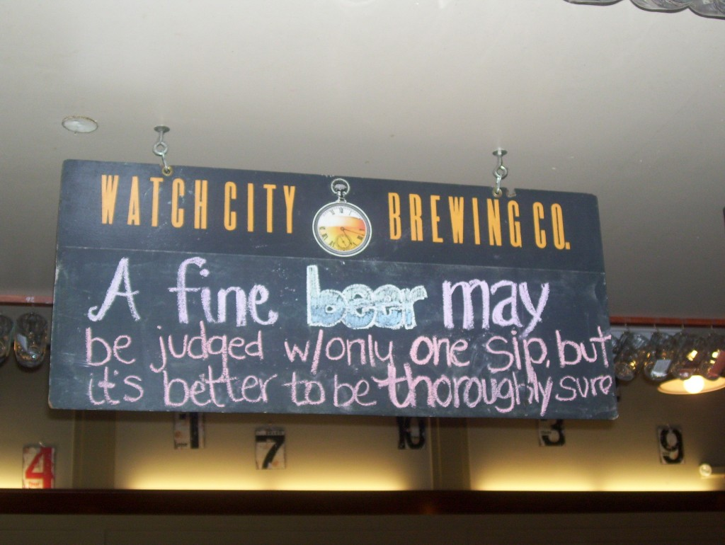 Signage at Watch City Brewing Co.