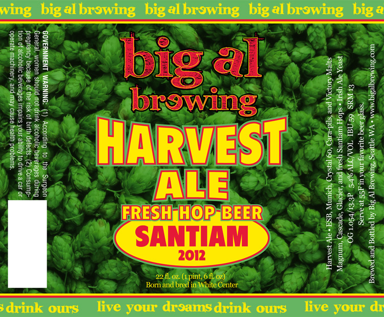 Big Al Harvest Ale Fresh Hop Beer Santiam 2012