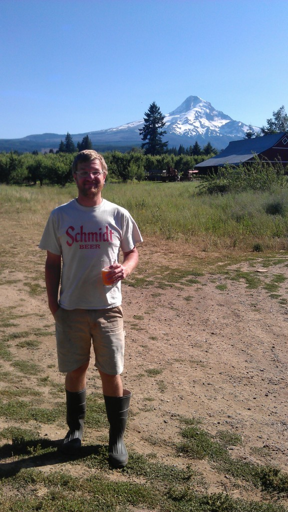 Solera Brewmaster Jason Kahler with the mighty Mt. Hood behind him