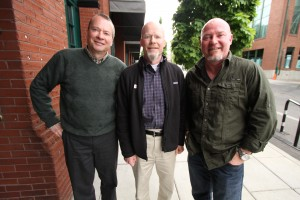 The Beer Traveler, Charlie Herrin (right) with the Widmer Bros, Kurt (left) and Rob (center)