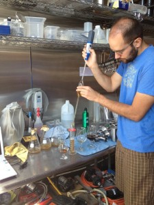 The Commons' Josh Grgas trying out some barrel blends for The BeerMongers Anniversary party.