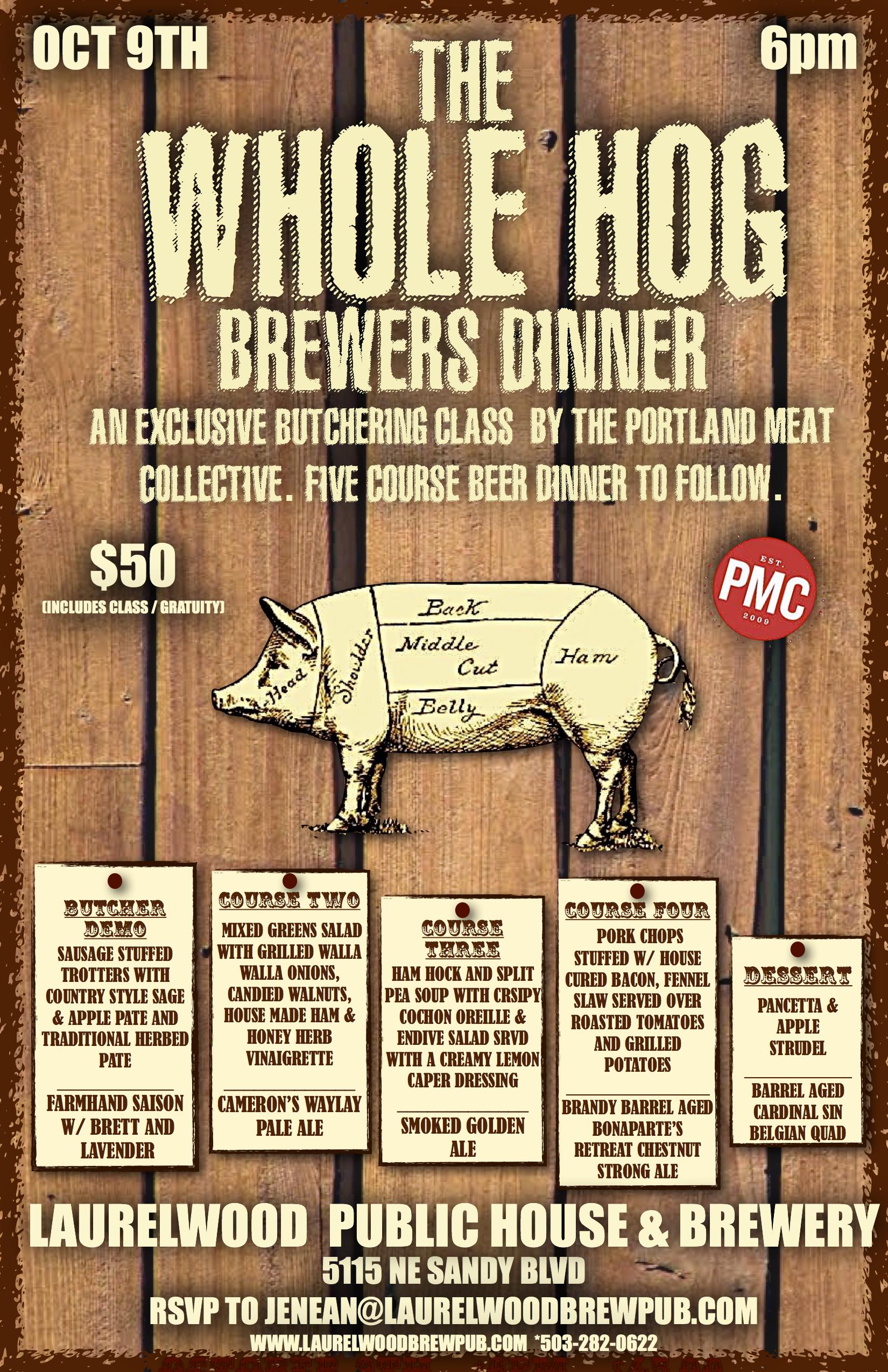 Whole Hog Beer Dinner Laurelwood Brewing Co