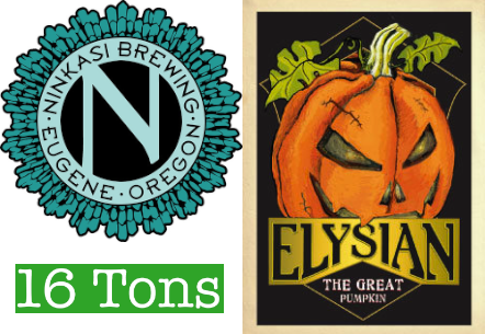 Ninkasi and Elysian Hop Squash collaboration Pumpkin IPA at Sixteen Tons