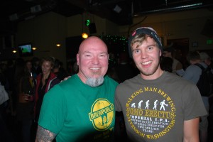 Beer Traveler Charlie Herrin (left) and Walking Man brewer Cory McGuinness at Killer Pumpkin Fest at Green Dragon 2012