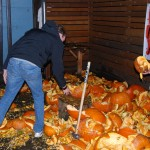 Setting up the pumpkin for destruction at Killer Pumpkin Fest at Green Dragon