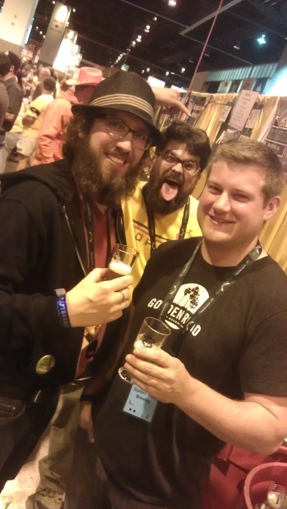 Drinking beers at GABF with Jaime Rodriguez (center) of Hopworks and Cole Hackbarth (right) of Golden Road Brewing