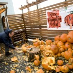 Hopworks owner-brewmaster Christian Ettinger smashing pumpkins at Killer Pumpkin Fest 2012 at Green Dragon (photo by Allyson Riggs of Rogue)