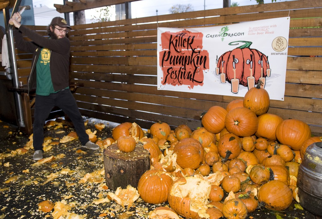 Angelo De Ieso of Brewpublic prepares to squash some squash at Killer Pumpkin Fest 2012 at Green Dragon (photo by Allyson Riggs of Rogue)