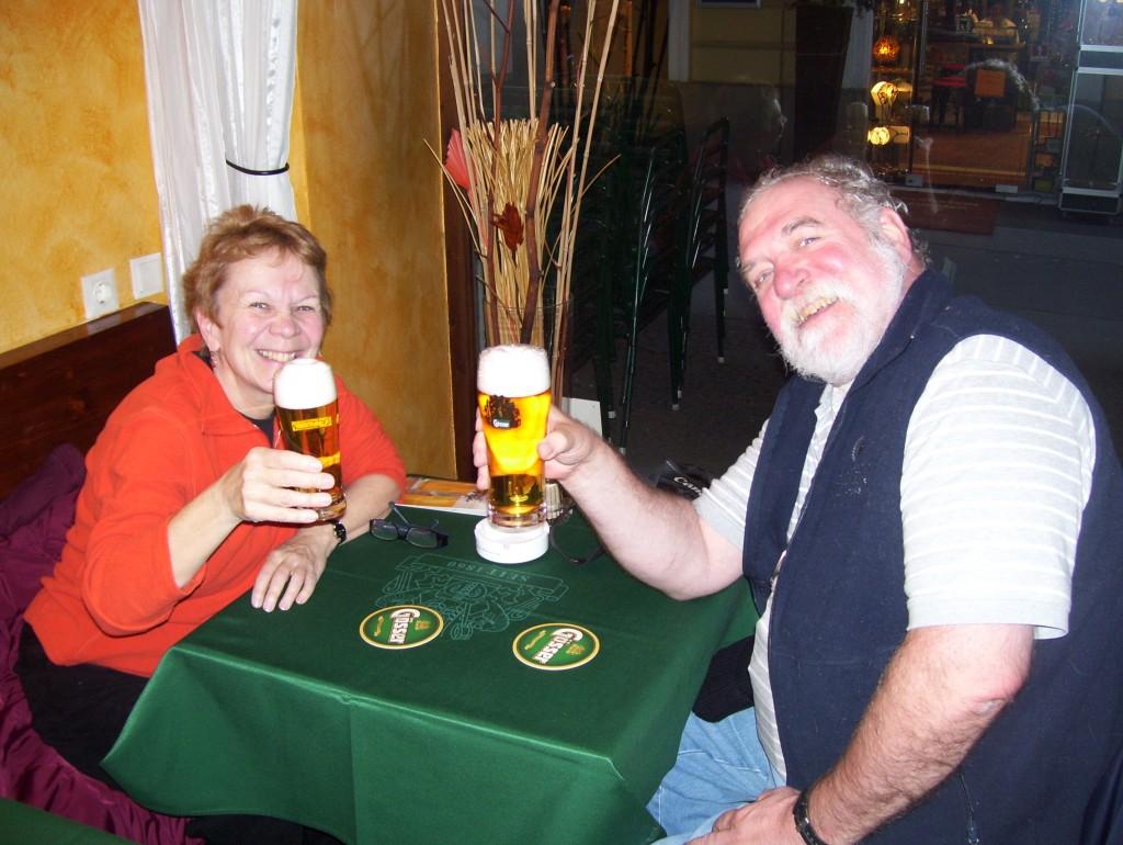 Jean De Ieso and Paul Stanley enjoying some tasty Gösser lagers