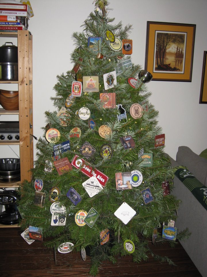 Christmas Tree with beer coasters