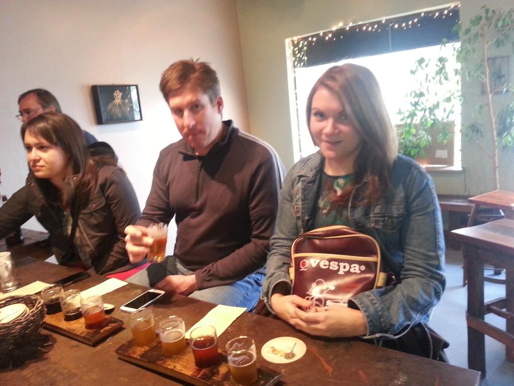 Alex, Dan, and Kim at the bar at Beltane Brewing in Novato, CA