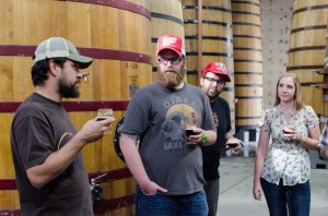L to R: Eric Salazar, Isaac Grindeland, Michael Bussmann and Lisa Cryer at New Belgium Brewing (photo by Daniel Flanders)