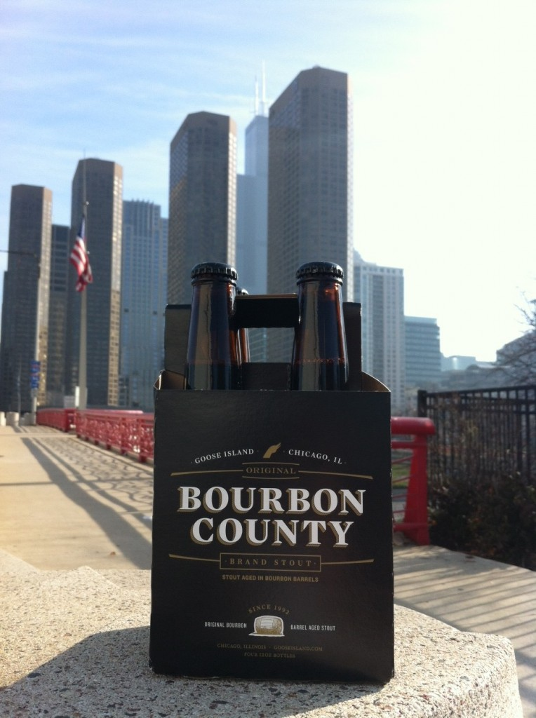 Goose Island Bourbon County Brand Stout wiht Chicago Skyline