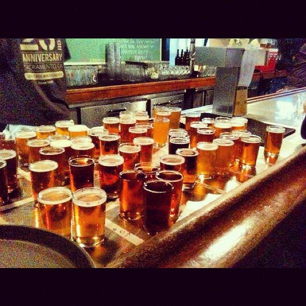 Craft beer samples photo taken by @KimsBayBrews on Instagram