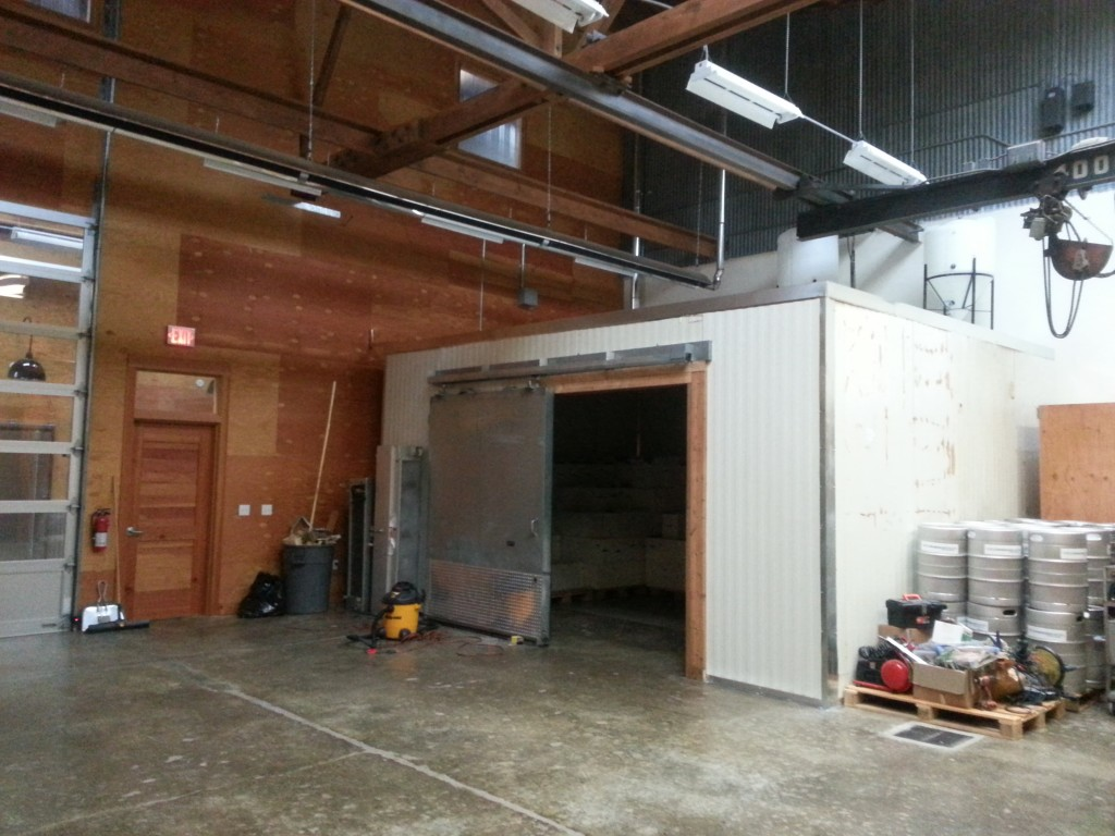 soon to be operational walk-in cooler in the new expansion of Commons Brewery