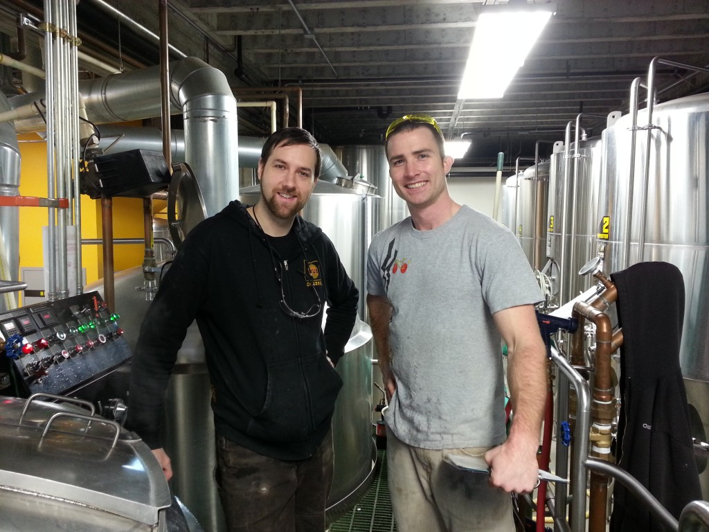 Hopworks brewers Walker Pruett (left) and Michael Neubauer