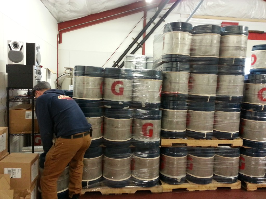 Gigantic Brewmaster Van Havig moving kegs
