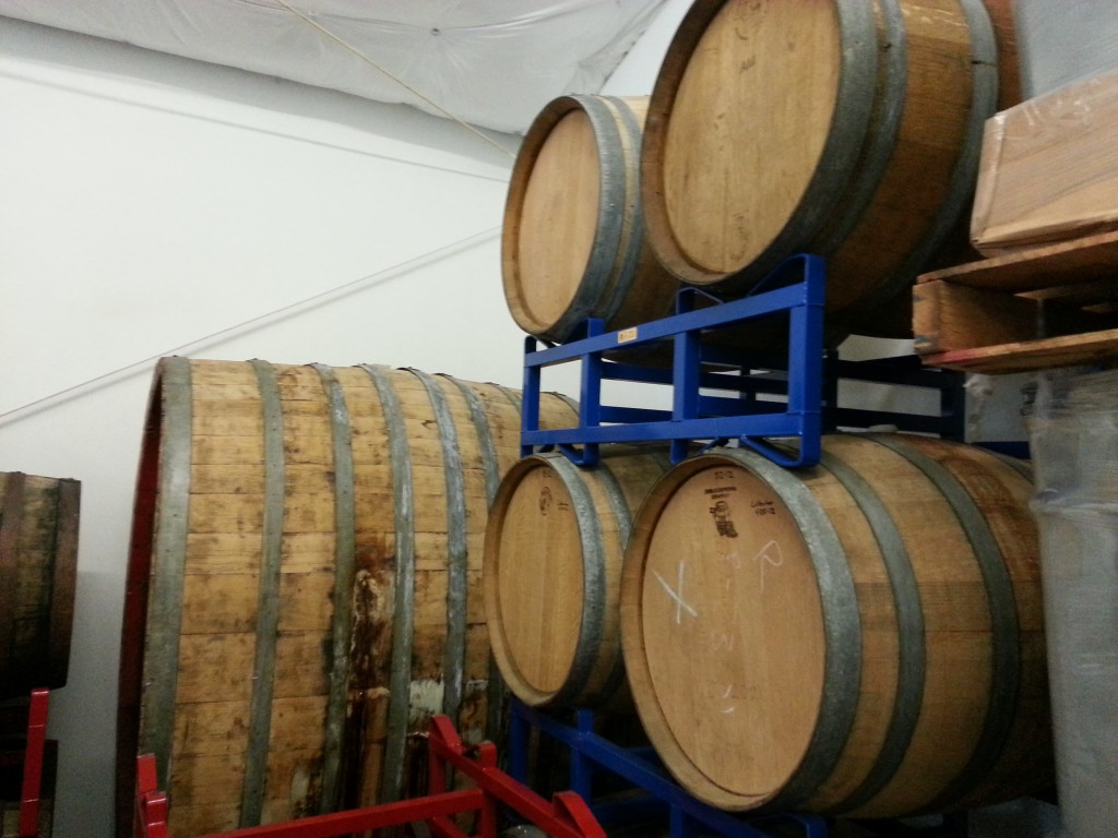 Foeder and barrels at Gigantic Brewing