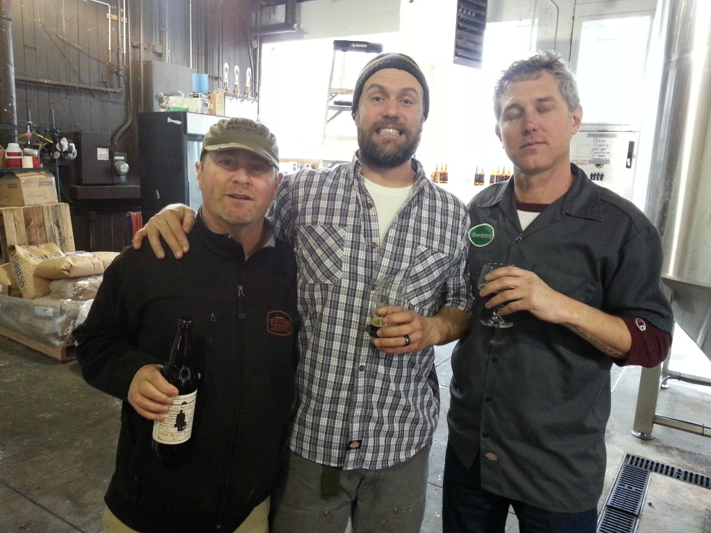L to R: Coalition brewmaster Dave Fleming, Burnside brewmaster Jason McAdam, and Green Bottling owner Mike Weksler