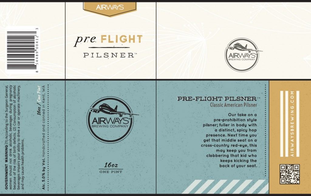 Airways preFLIGHT Pilsner 16 ounce can