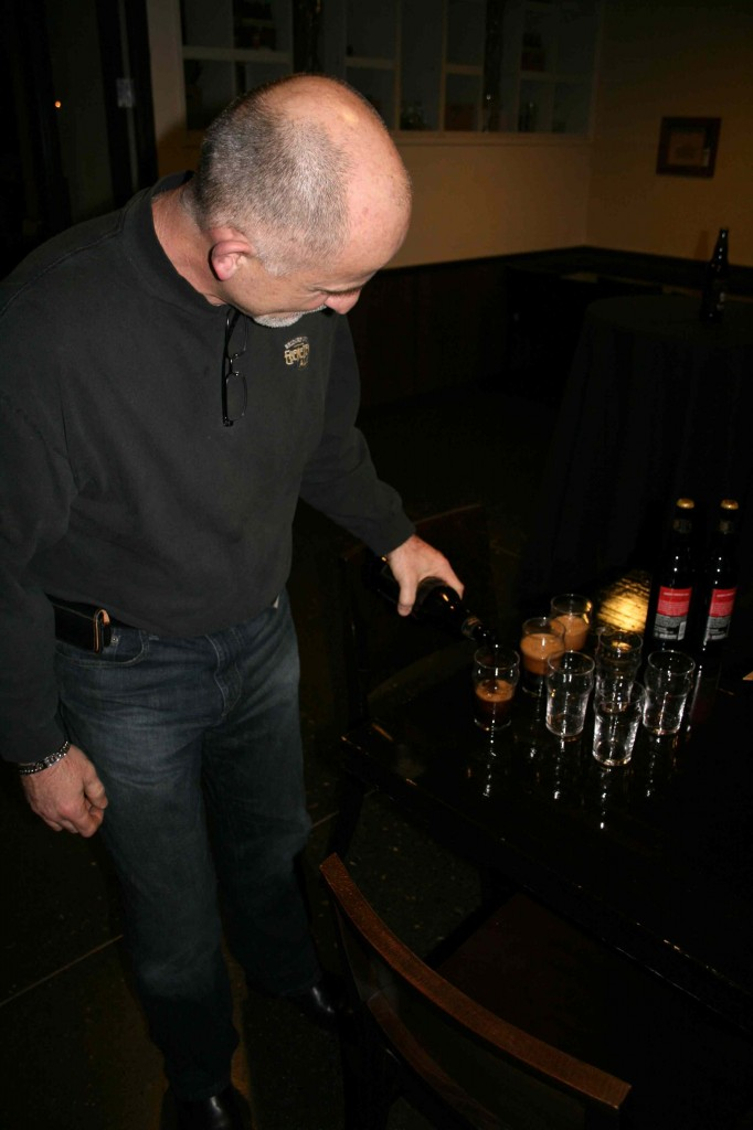 Brewmaster Jeff Edgerton Pouring Samples of BridgePort Bear Hug Cherry Chocolate Stout