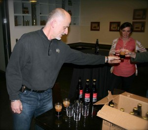 Jeff Edgerton handing out samples of Bear Hug Cherry Chocolate Stout