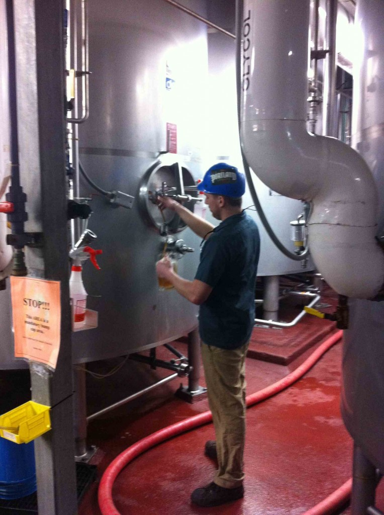 Luke Pouring From the Zwickel at Portland Brewing Co.