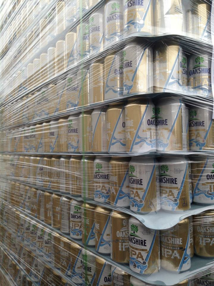 Oakshire pallet of cans