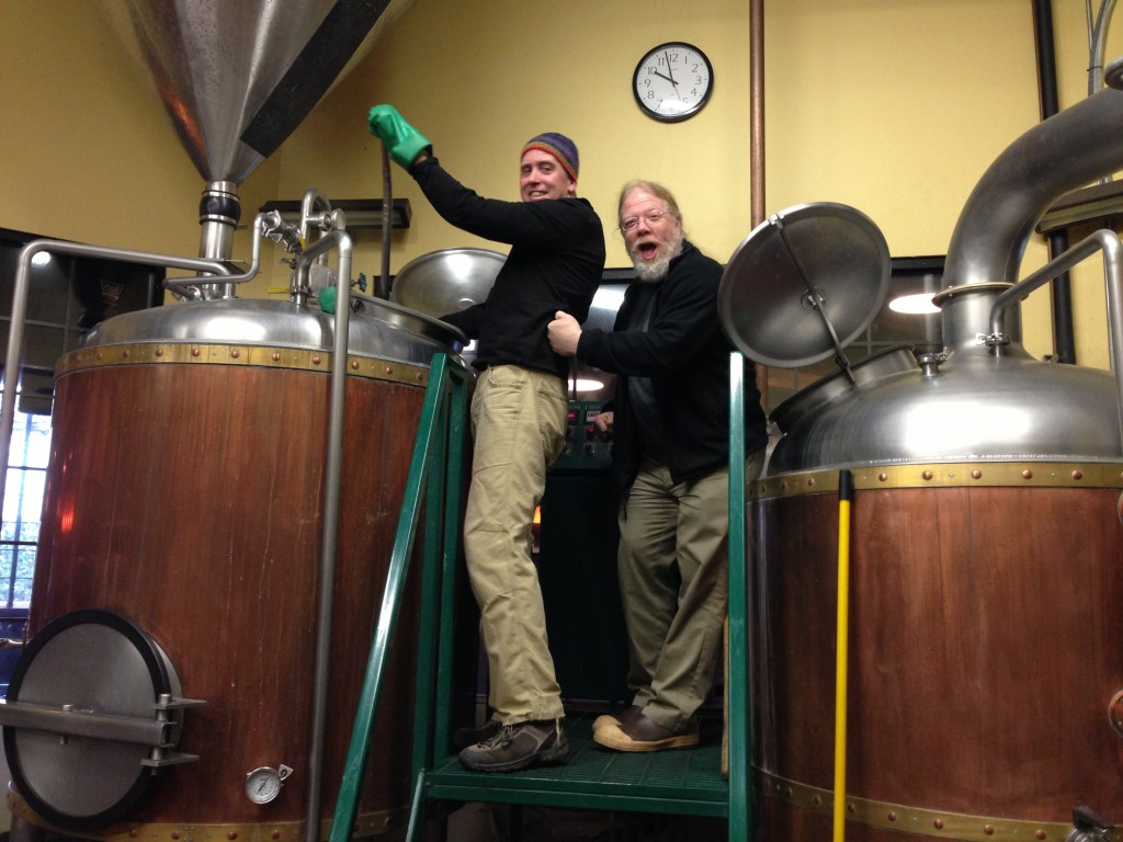Golden Valley brewmaster Mark Vickery (left) with Brewmaster John Harris brewing Valley Red Imperial Collaboration Brew at Golden Valley Brewing