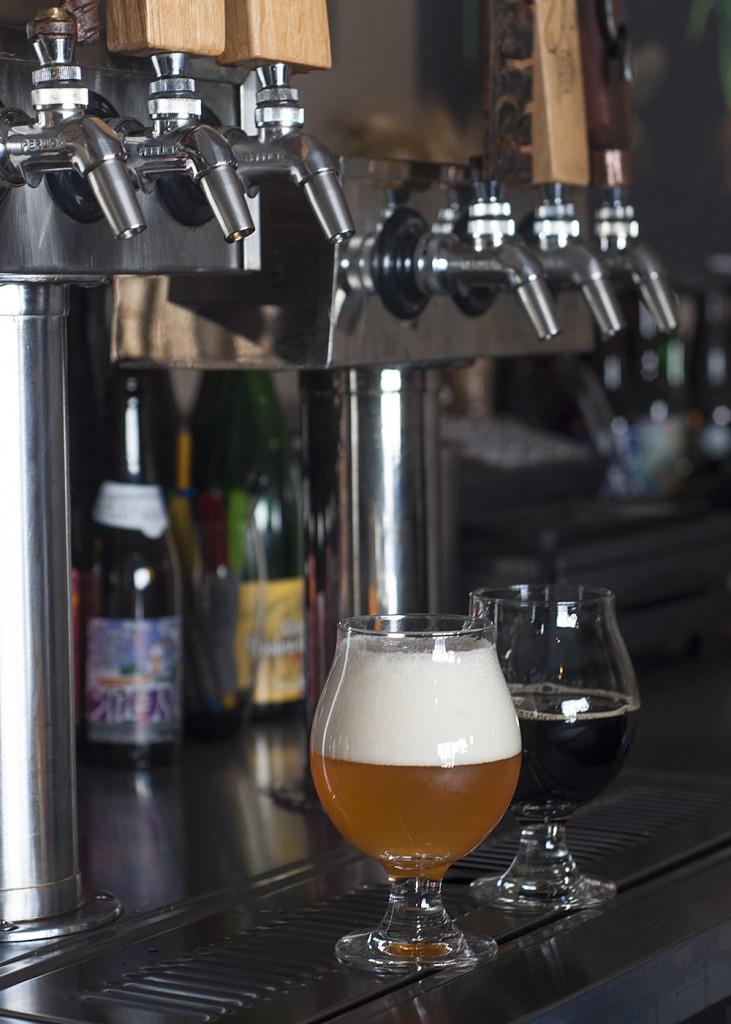 Beers and taps at Sante Adairius Rustic Ales in Capitola, CA