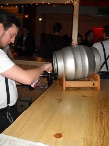 Firkin of beer a La Cuvee D'Hiver