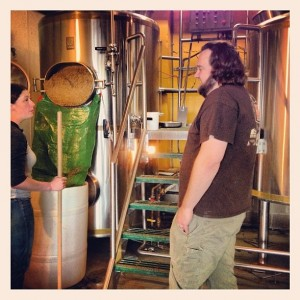 Tim Ensign of Fort George brewing his Powered By Hops brew