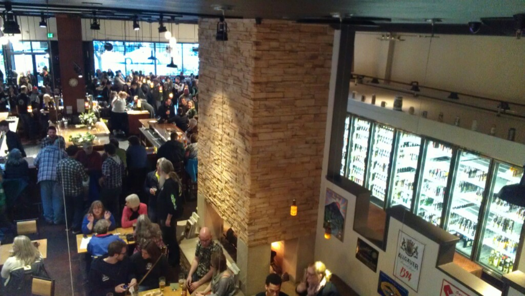 Bier Stein crowd for soft opening