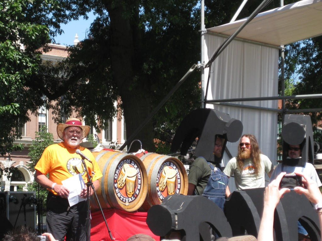 Art Larrance Tapping 1st Beer at 2011 OBF