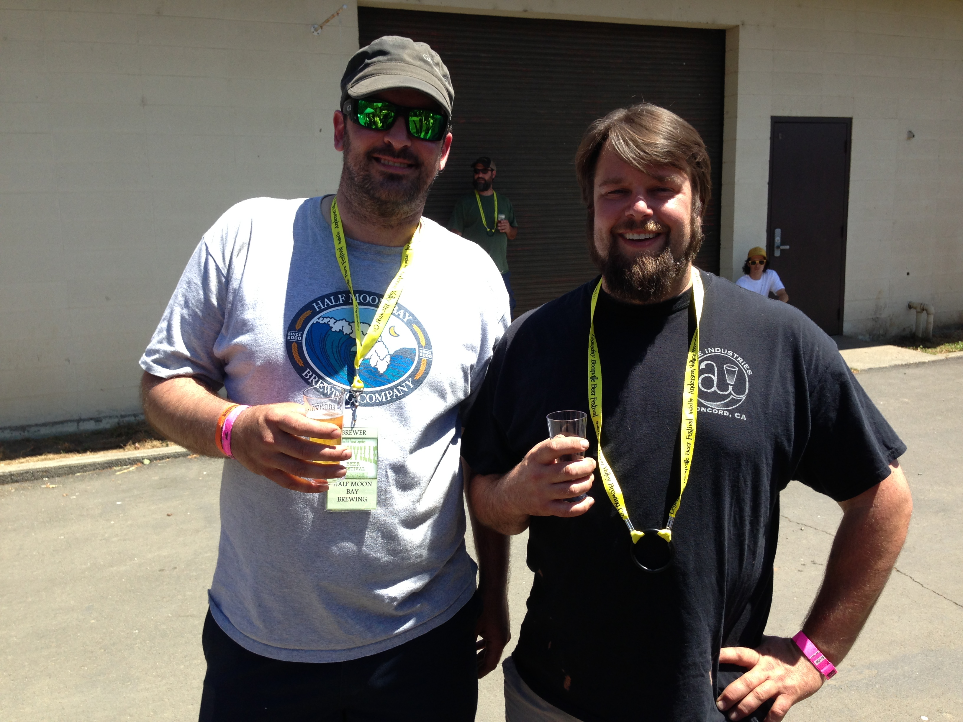 Half Moon Bay brewer James Costa (left) and Ale Industries owner Stephen Lopas enjoy beers at Boonville Beer Fest 2013
