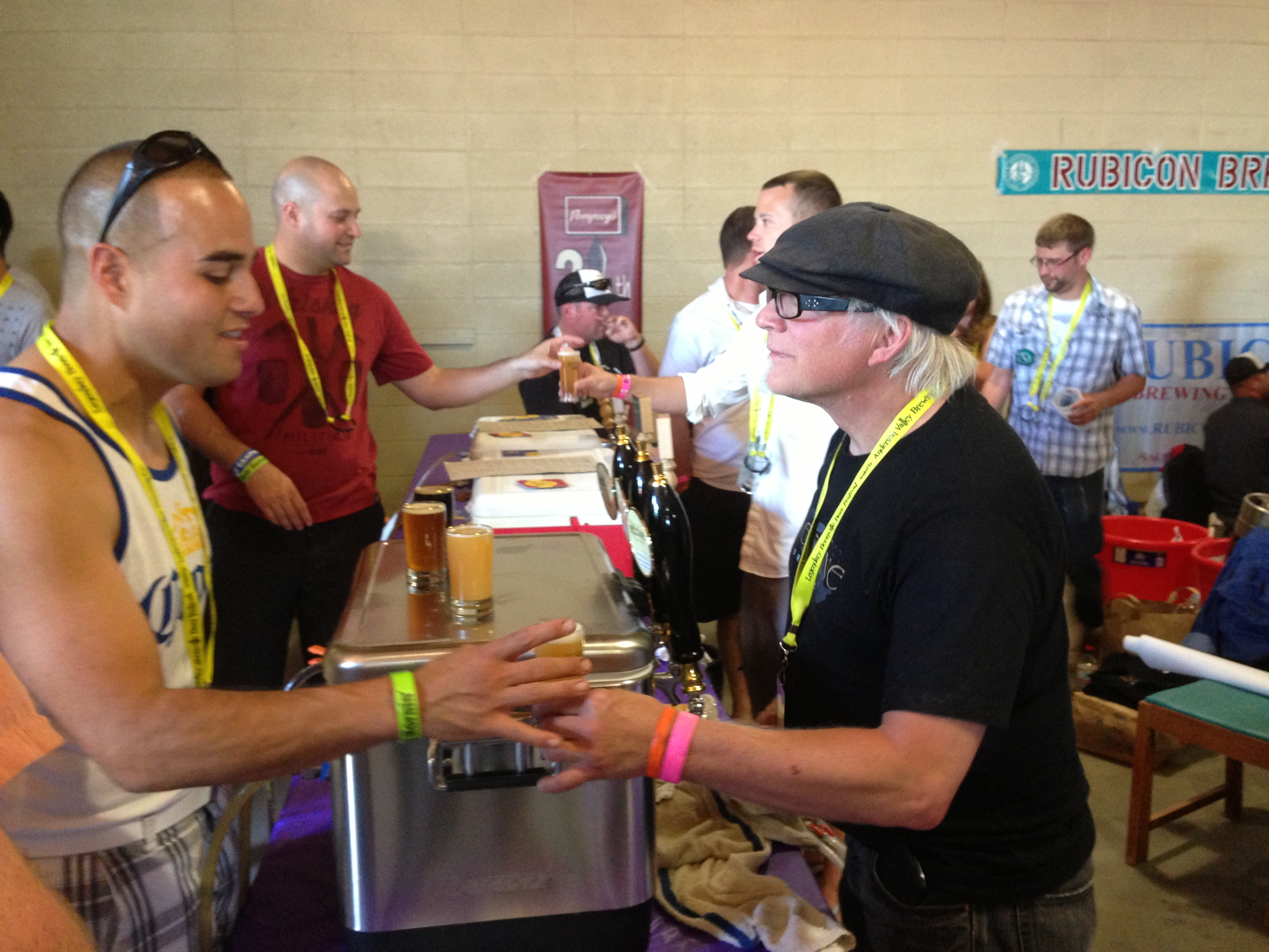 Brewer Alan Atha of Baeltane Brewing from Novato, CA serves up craft beer at Boonville Beer Fest 2013