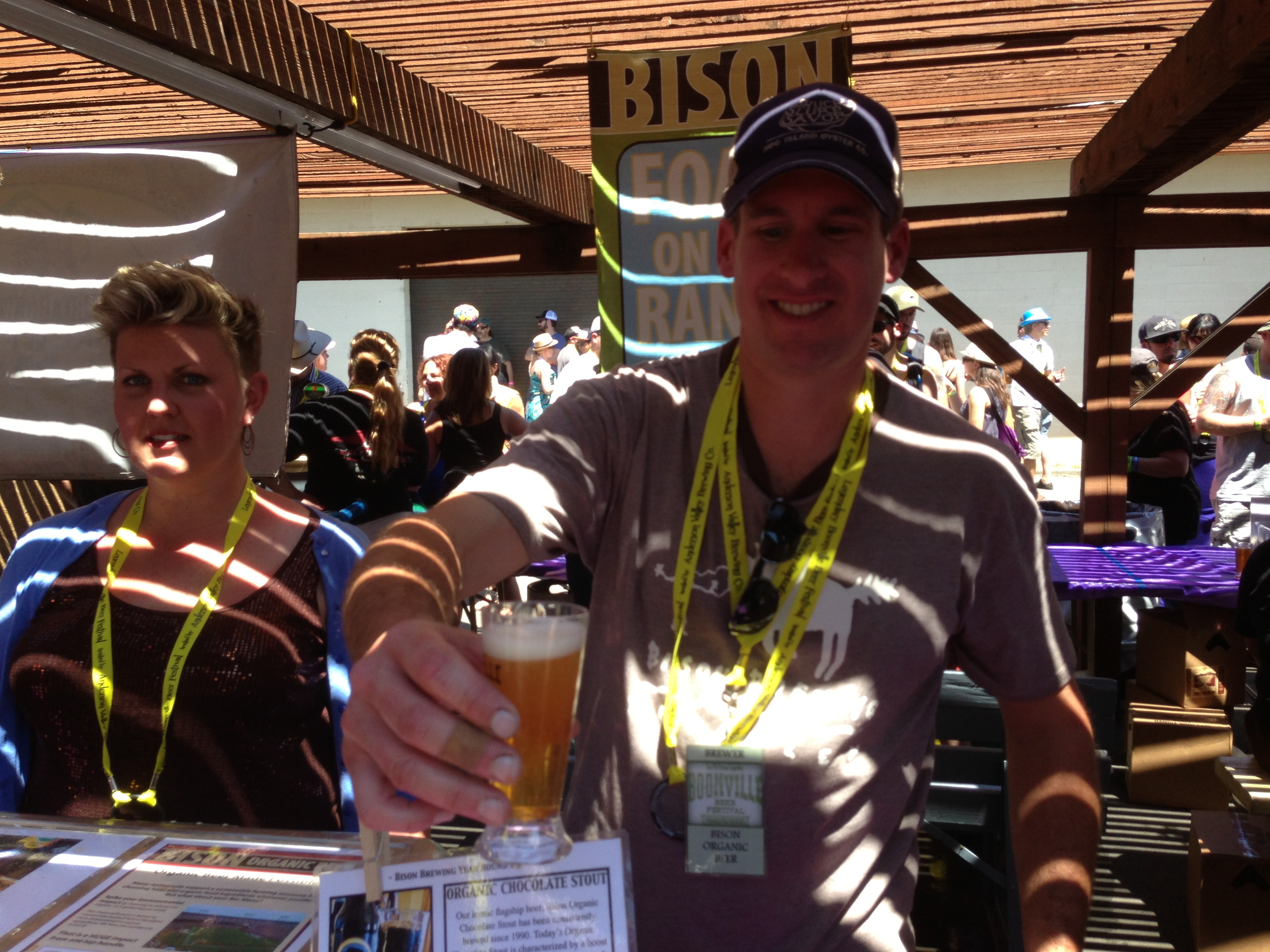 Bison owner-brewmaster Daniel Del Grande serves up a glass of his new Hop Cuvee at the 2013 Boonville Beer Fest
