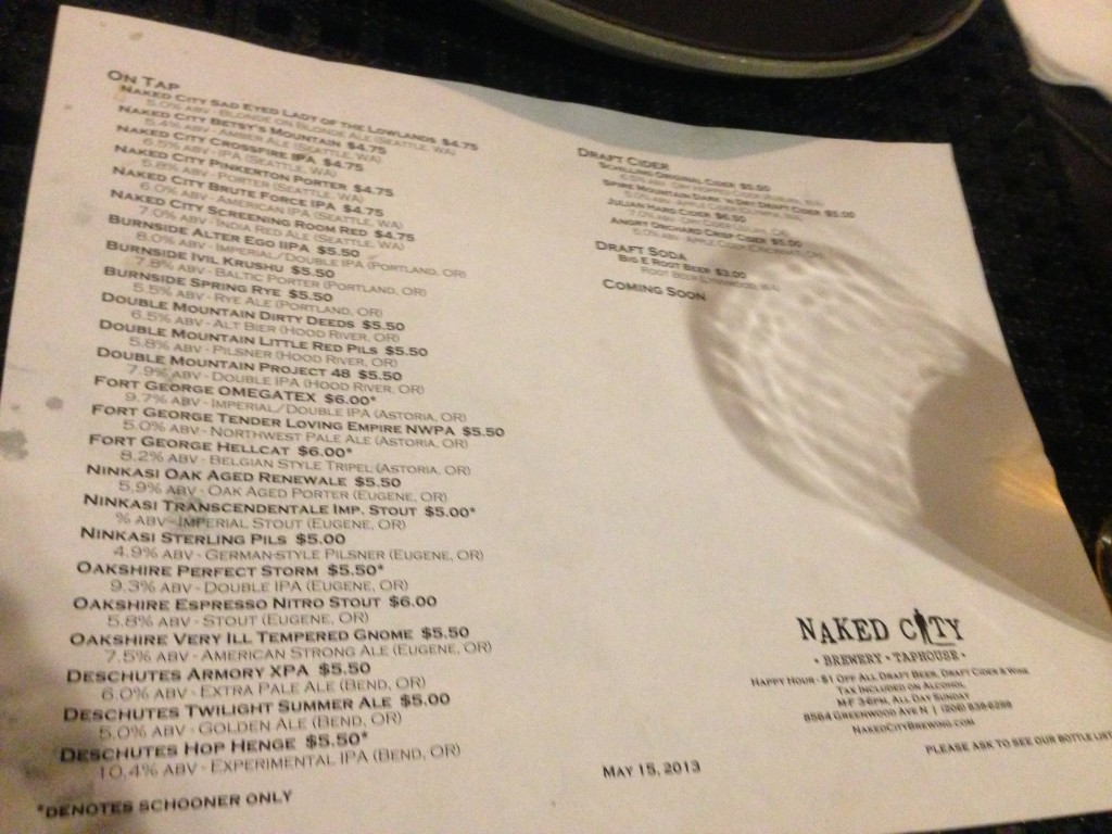 Taplist for Oregon Brewers Night at Naked City Taproom during Seattle Beer Week 2013