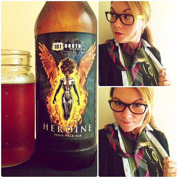 Beer heroine Kim Schimke with a 101 North Brewing Heroine IPA