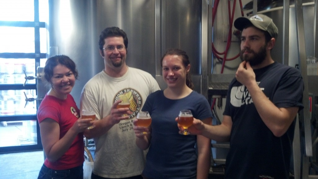 Left to right: Hilda of Bazi and Bryan of Lompoc Brewing with former brewers Irena and Grant .