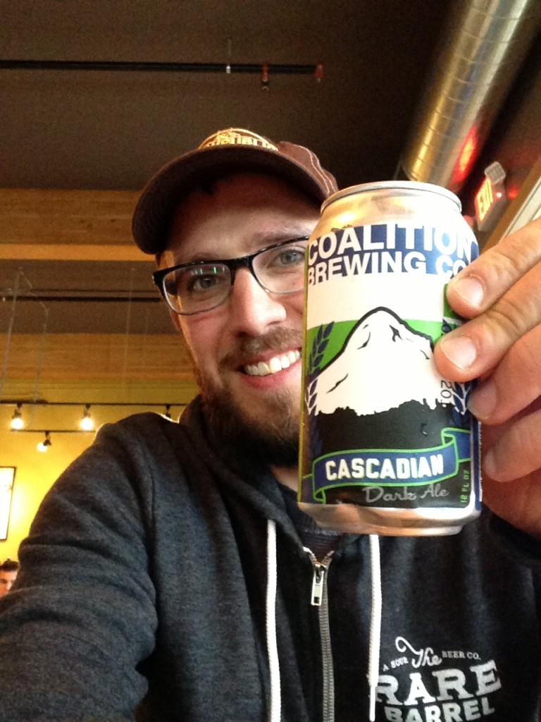 No better way to enjoy my return to Cascadia than with a fresh can of Cascadian Dark Ale from Coalition Brewing
