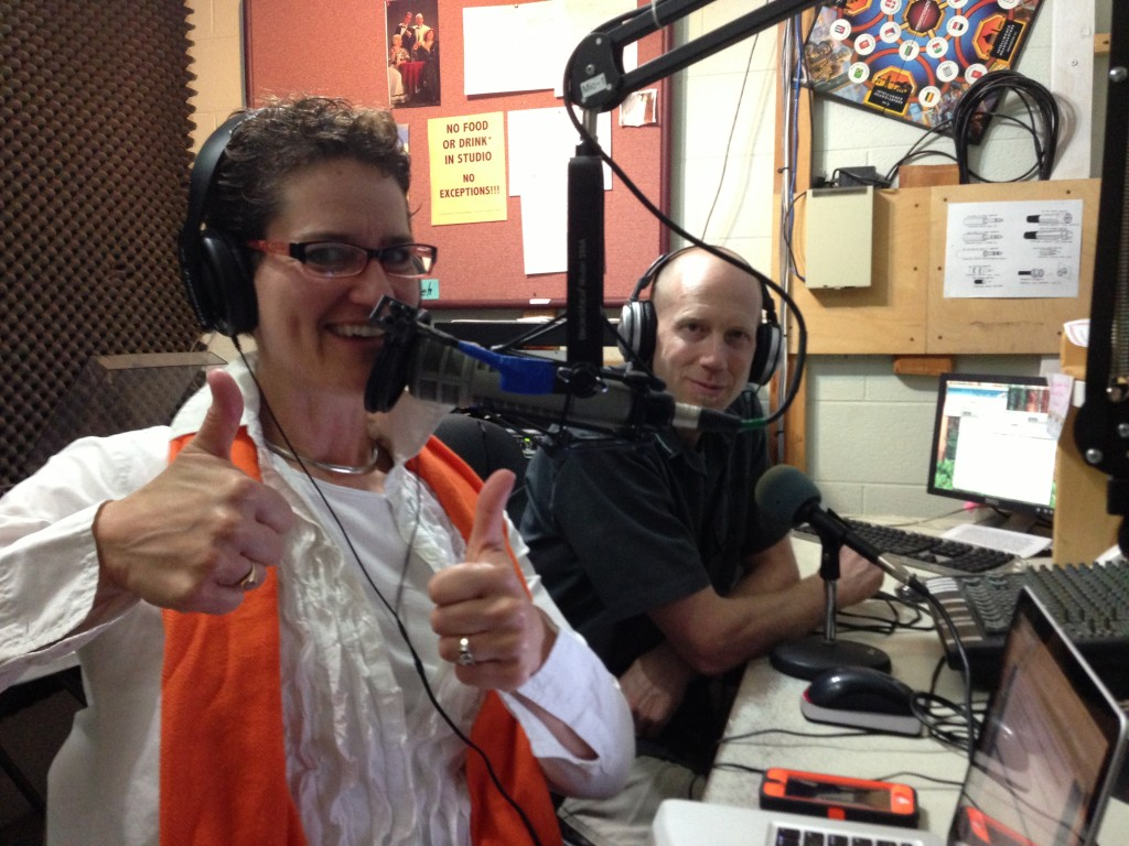 Ginger Johnson and Larry Chase on Beer Radio at Ashland's KSKQ