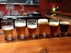 Sampler of craft beers at Loowit Brewing in Vancouver, WA