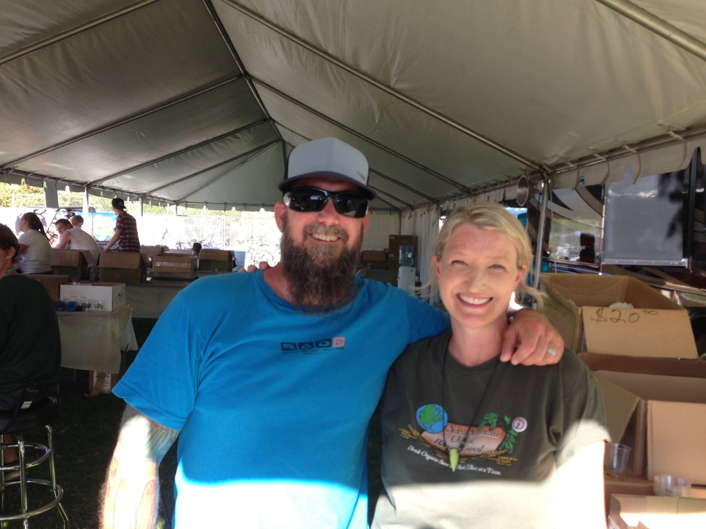 NAOBF founder Craig Nicholls and organizer Chris Crabb holding it down on a hot Friday afternoon at the North American Organic Brewers Festival