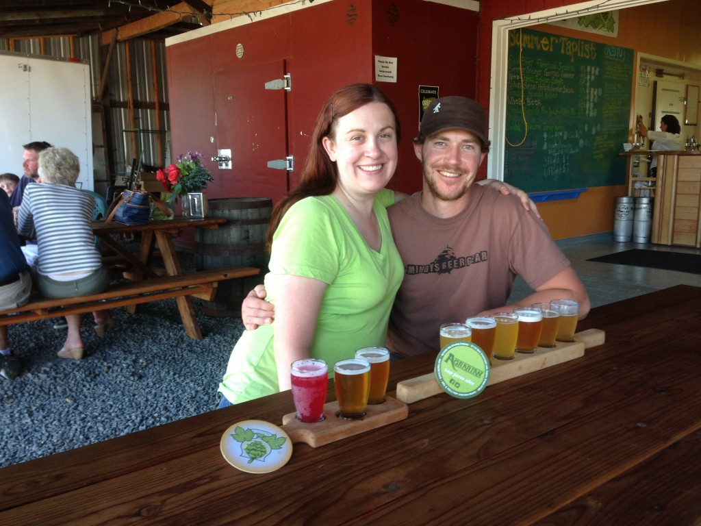 Jennifer and Ryan share a few sampler trays at Agrarian Ales in Coburg, Oregon