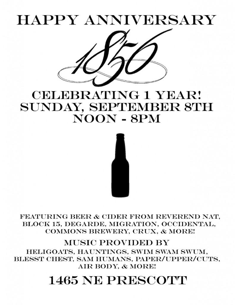 1856 One Year Anniversary