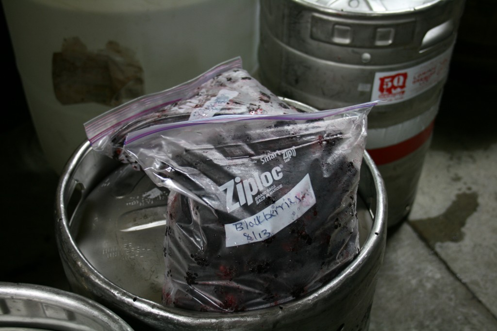 Blackberries to be added to make Blackberry Thyme Golden Ale
