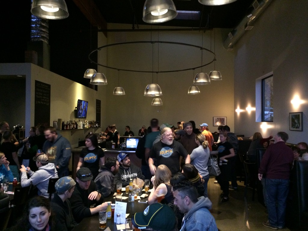 John Harris Holding Court in Ecliptic Brewing's Bar Area
